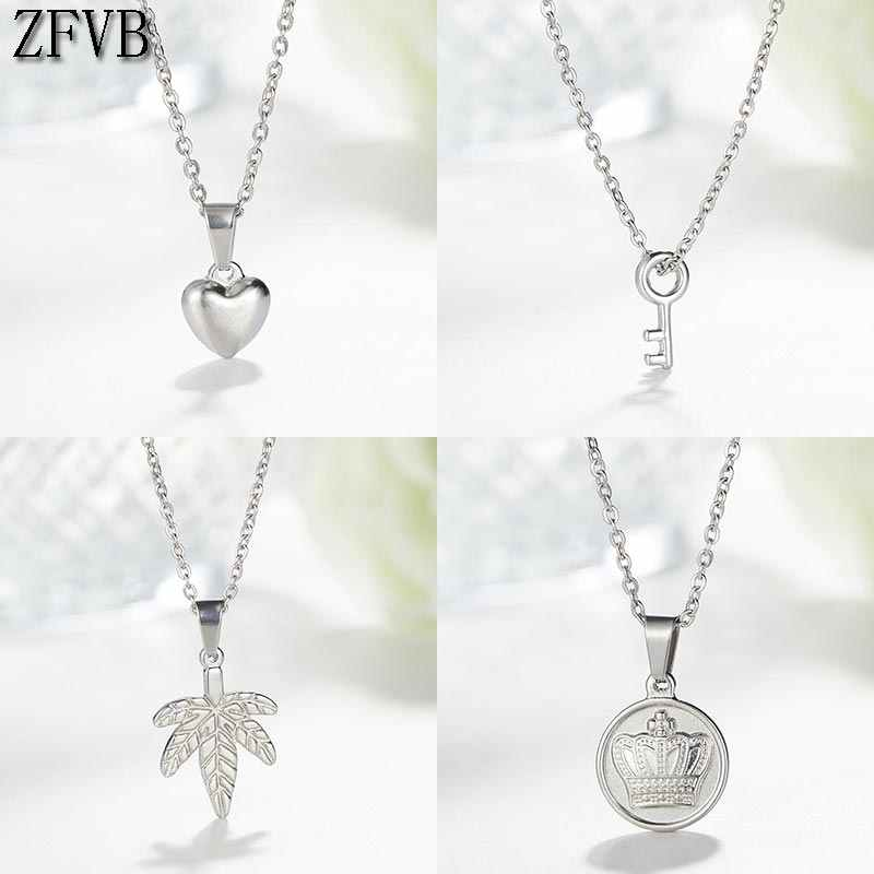 ZFVB Trendy Heart Necklace for Women SHORT Chain Stainless Steel Silver color Key Leaf CROWN Cross Pendant Necklaces Jewelry