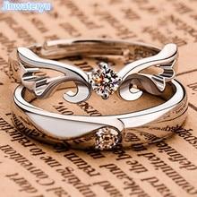 Jinwateryu модные ювелирные изделия 925 Серебряные любовные кольца ангелы кольца Крылья обручальные кольца набор обручальных колец с кубическим Цирконом