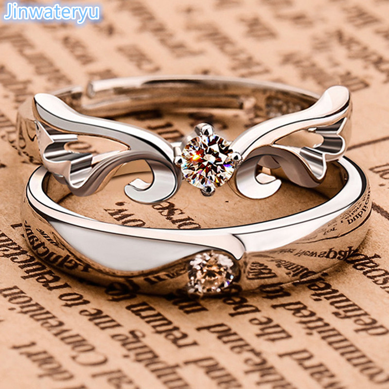 Jinwateryu Fashion Jewelry 925 silver Lover rings Angels wings rings Wedding Bands Engagement Rings set with Cubic Zircon  aliança asas de anjo