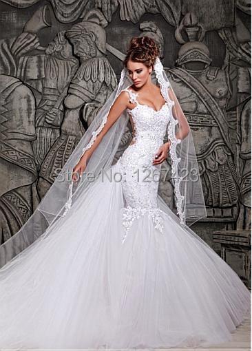 White Spaghetti Straps Backless Mermaid Wedding Dress 2014 Long ...