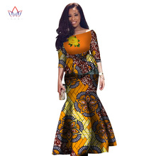 Women's Dress Two Pieces Set Women Half Sleeve Crop Tops & Long Maxi Skirt Sets African Mermaid Maxi Clothing 6XL BRW WY2631