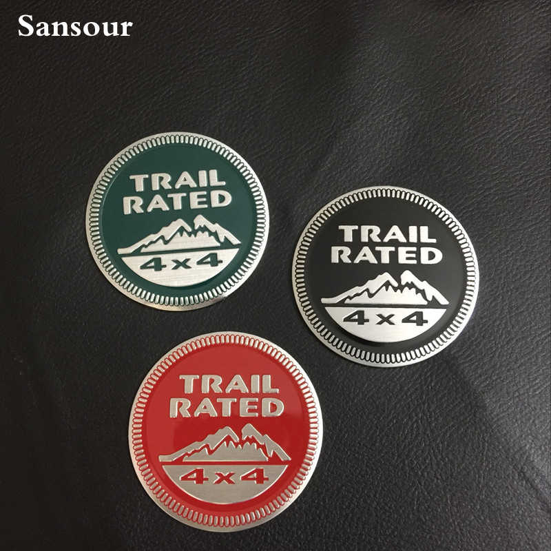 Papan Nama logam Trail Rated 4X4 Badge Emblem Sticker Untuk Jeep Wrangler Cherokee X 1 pcs