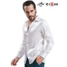 Lüks giyim gömlek erkekler marka saten ipek düğün gömlek katılmak parti damat parlak elbise düz beyaz erkekler için smokin gömlek