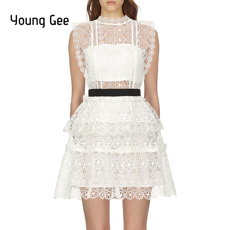Young Gee Self Portrait White Lace Embroidery Runway Dress Women 2019 Sleeveless Circle Floral Lace Tiered