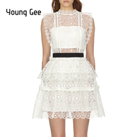 Young Gee Self Portrait White Lace Embroidery Runway Dress Women 2019 Sleeveless Circle Floral Lace Tiered Mini Dresses vestidos