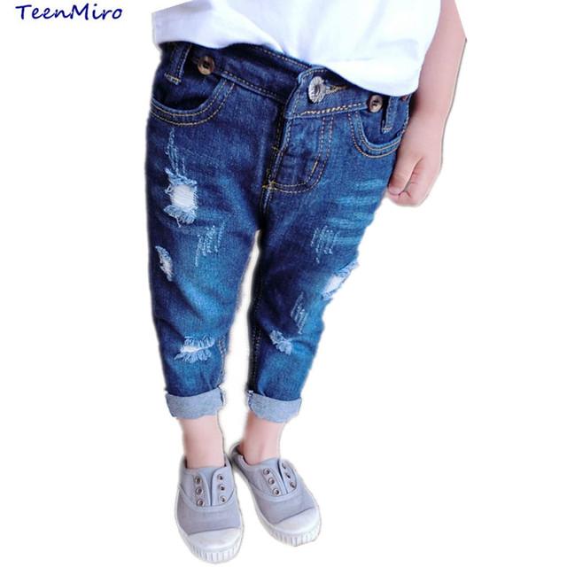 2017 Niños de La Manera Pantalones de Mezclilla Niñas Ripped Jeans Cremallera Niño Niños Pantalones de Mezclilla de Primavera Verano Casual Pantalón Largo 2-7Y