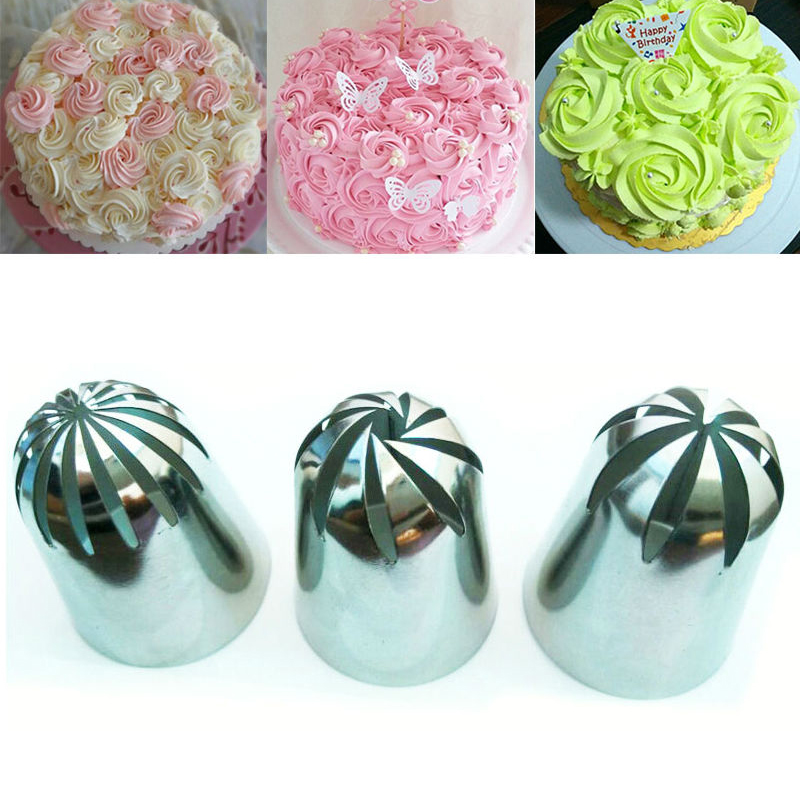 3 PCS Large Cream Nozzle Pastry Stainless Steel Icing Piping Tips Ställ kakor Dekorera Bakverk