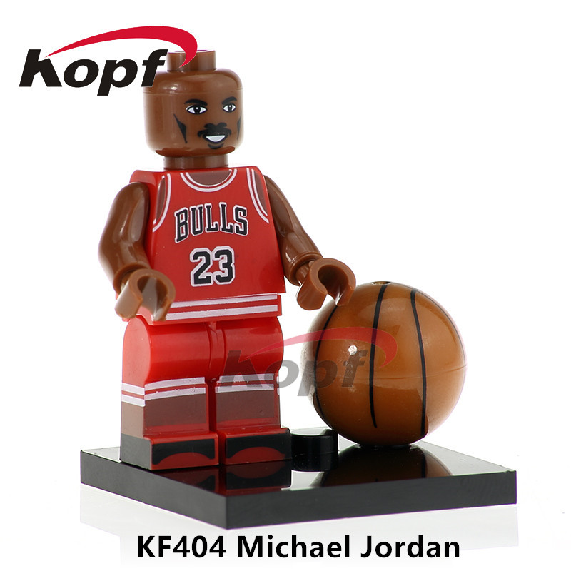 Building Blocks Super Heroes American Professional Basketball Player Michael Jordan Stephen Curry Bricks Toys for children KF404 building blocks super heroes back to the future doc brown and marty mcfly with skateboard wolverine toys for children gift kf197