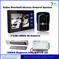 DC12V 3A 180kg Magnetic Lock Wired Video Doorbell Intercom System With 7'LCD IR CMOS Camera Night Vision Access Control Kit DIY