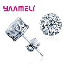 Classic 925 Sterling Silver CZ Crystal Stud Earrings For Women Men Top Quality Cubic Zircon Ear Accessories Jewelry(China)