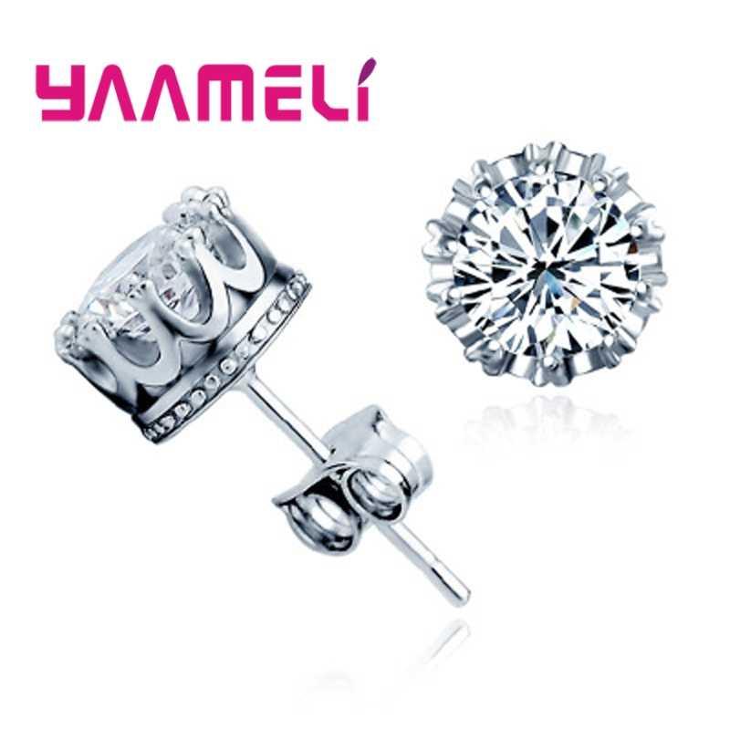 Classic 925 Sterling Silver CZ Crystal Stud Earrings For Women Men Top Quality Cubic Zircon Ear Accessories Jewelry
