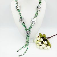 Natural Stone Green Glass Shell Flowers Freshwater Pearl With Jade Toggle Clasp Necklace Approx 60cm Fashion