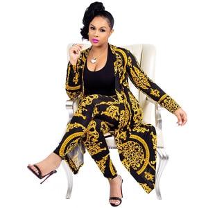 Image 5 - 2019 New African Print Elastic Bazin Baggy Pants Rock Style Dashiki SLeeve Famous Suit For Lady/women coat and leggings 2pcs/se