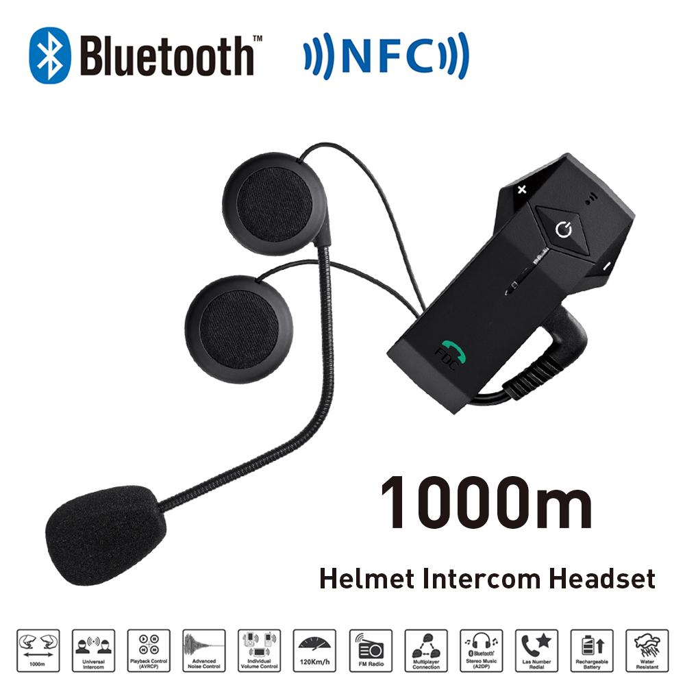 Freedconn Helmet Headset Bluetooth Intercom for Motorcycle Bluetooth Intercom with NFC FM Radio Function For Phone/GPSMP3 1000M lexin 2pcs max2 motorcycle bluetooth helmet intercommunicador wireless bt moto waterproof interphone intercom headsets