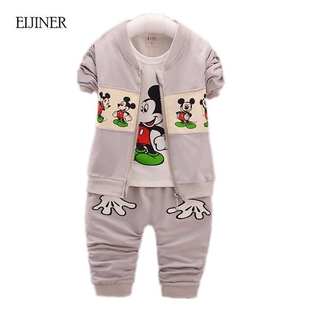 3pcs Baby Boy Girl Clothing Set Spring Autumn 2017 New Boys Clothes Kids Clothes for Boys Cartoon Toddler Children Clothing