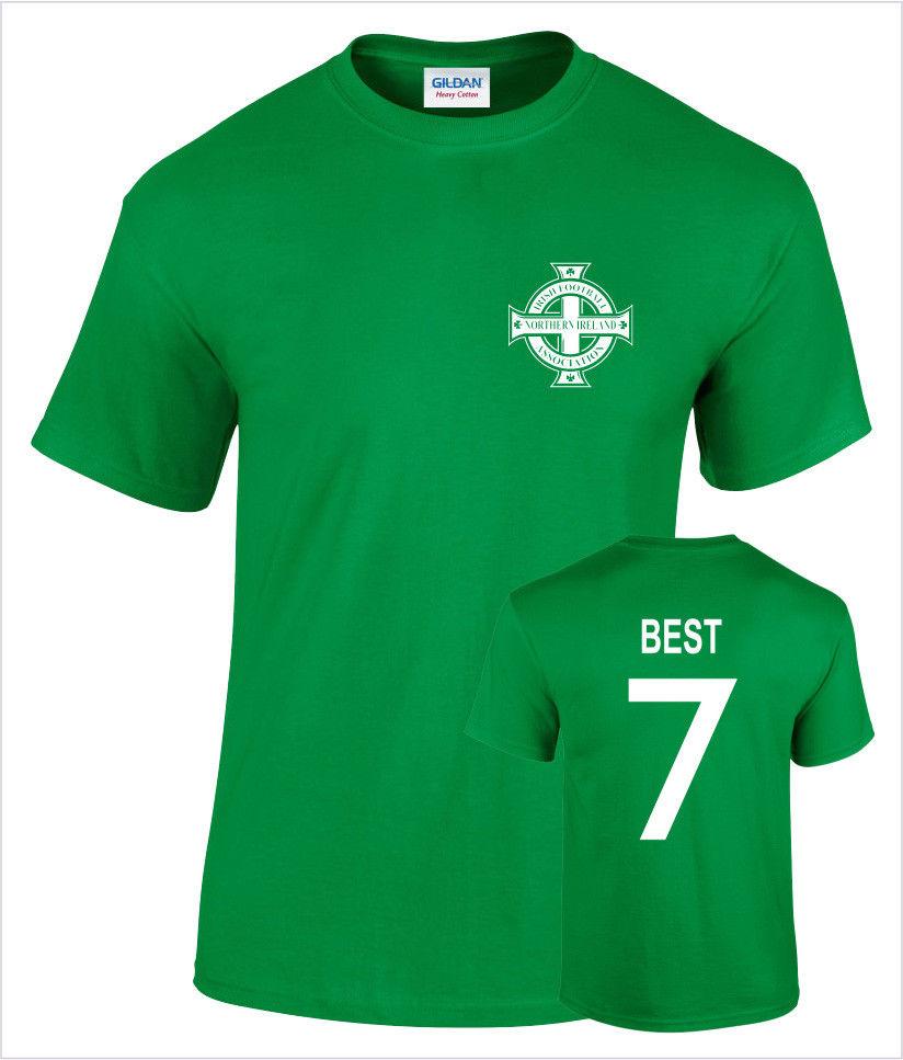 a9d038987 2018 New Men S George Best Northern Ireland No 7 Mens Retro Football  Remington Logo Print T Shirt Men 100% Cotton T-shirt