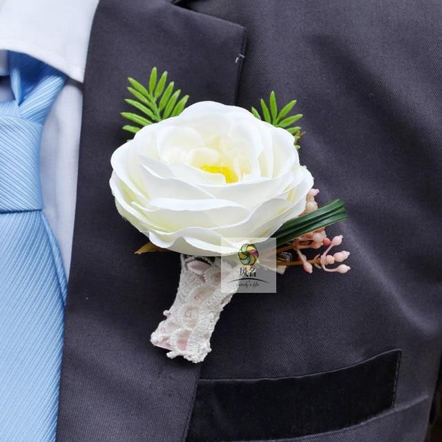 5 pcslot handmade white guest prom boutonniere corsage flower silk 5 pcslot handmade white guest prom boutonniere corsage flower silk artificial flowers bridegroom bride mightylinksfo