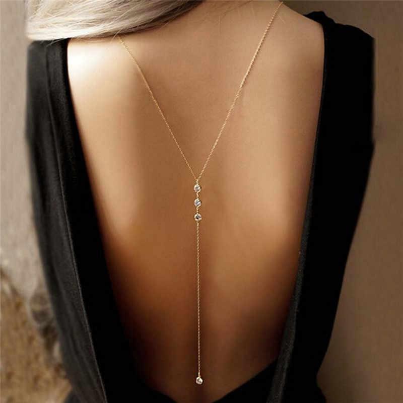 Women Boho Beach Bikini Bib Crystal Wedding Summer Dress Backdrop Back Body Chain Necklace Jewelry Body Jewelry
