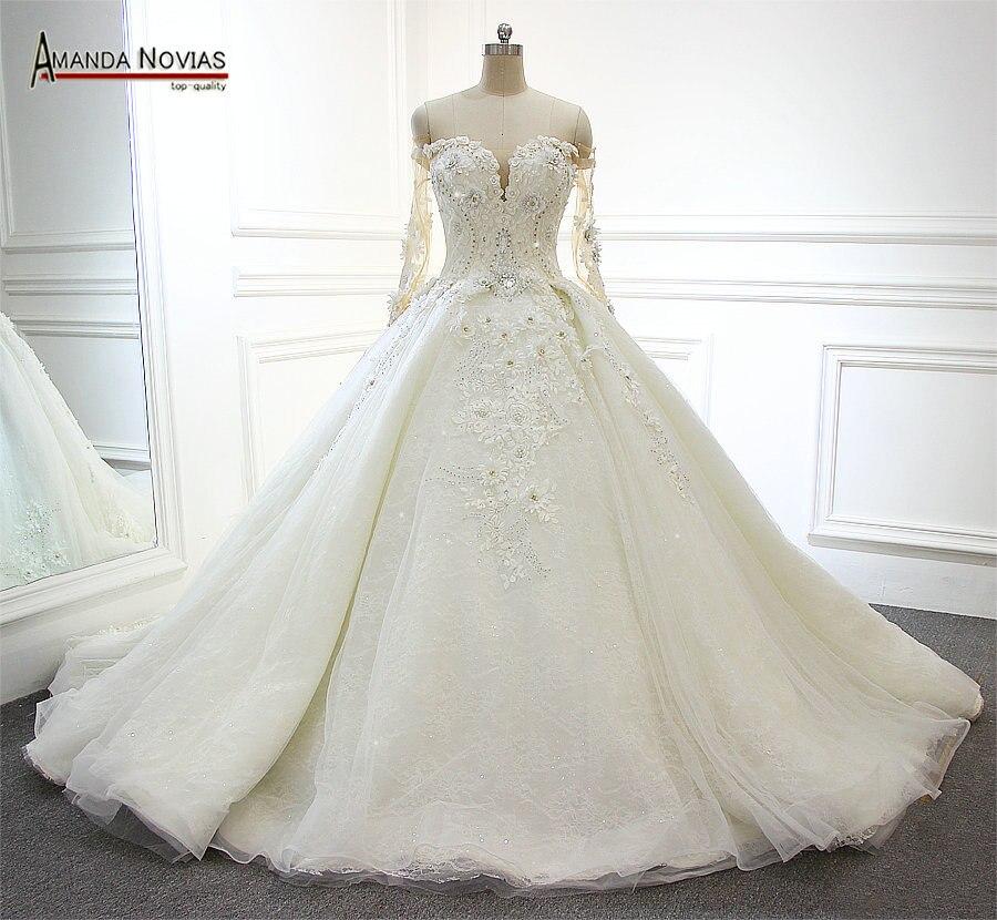 4a2e16158 2019 Popular manga larga cola de Amanda Novias fotos reales de la boda  vestido de novia en Vestidos de novia de Bodas y eventos en AliExpress.com