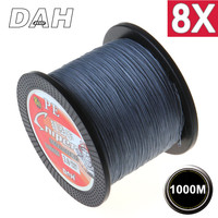 1000M 8X DAH BRAND Super Strong Japan Multifilament 100% PE braided fishing line 8 strands braided wires 10LB to 100LB