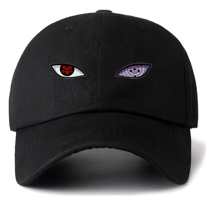 New Anime Naruto Uchiha Sasuke Sharingan & Rinnegan Eye Cotton   Cap     Baseball     Cap   For Men Women Hip Hop Streetwear Dad Hat