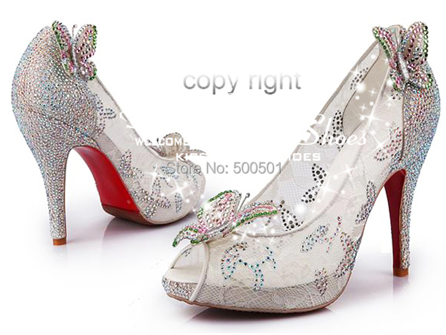 Red Bottom High Heels Cinderella Wedding Shoes Lace P Toe Crystals Erfly Dancing