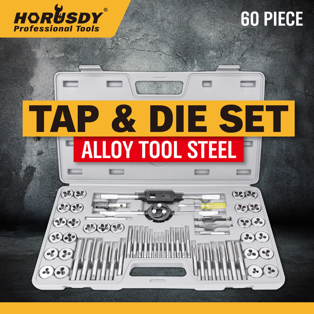 ФОТО HORUSDY  Metric Tap& Die Set Thread Taper Drill Tool Kit Quality Alloy Pack Of 60 16050015