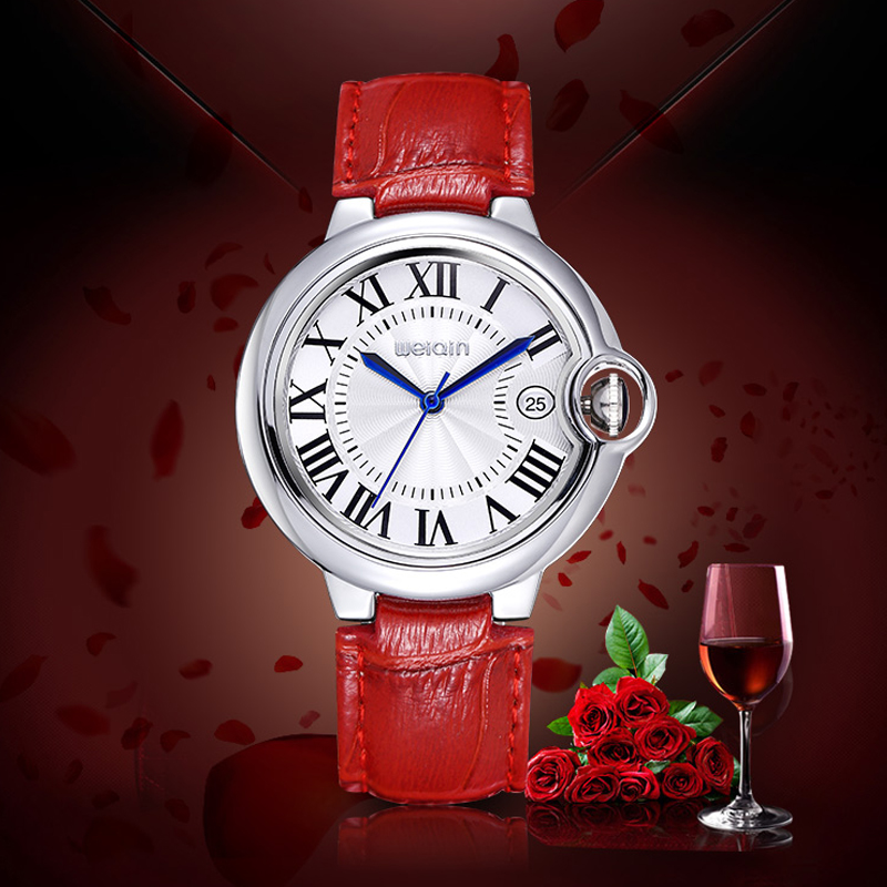 WEIQIN Date Silver Case Genuine Leather Straps Watches Women Water Resistant Lady Fashion Casual Rome Style Watch Clock Relogios new electronic willis women mini water resistant sports brand watch casual watches fashion for children watch relogios feminino