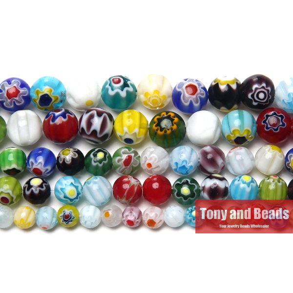 Free Shipping Multi Colors 2 Flower Millefiori Lampwork Glass Beads 6 8 10mm Pick Size For Jewelry Making LGB3(China)