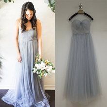 Pretty Fashion High Quality Cheap Pleated vestido madrinha de casamento Tulle Bridesmaid Dresses Girl Prom Dresses Plus Size B76