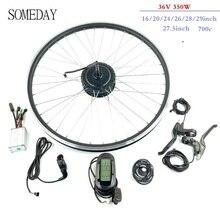 Фара для электровелосипеда в преобразователя для электрического велосипеда с сертификатом ce Мотор для центрального движения колеса комплект 36V 350W сзади повернуть мотор с KT LCD6 дисплей