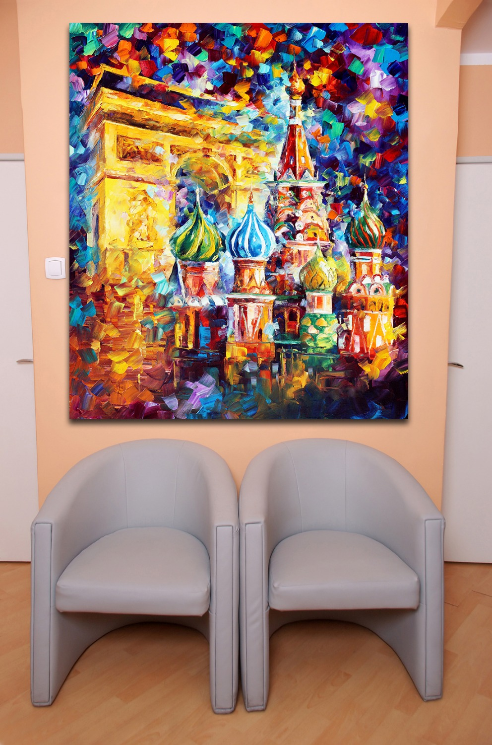 100 Hand painted Palette font b Knife b font Triumphal Arch Russian Architecture Colorful Canvas Painting