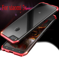 Luphie Galass Cover For Xiaomi MI 5X Mi5X Metal Tempered Glass Back Cover Set Shockproof Phone