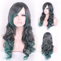 65cm New Fashion Sexy Long Curly Wavy Cosplay Tilted Frisette Women Wigs Hair Wig Girl Gift Black Green HB88