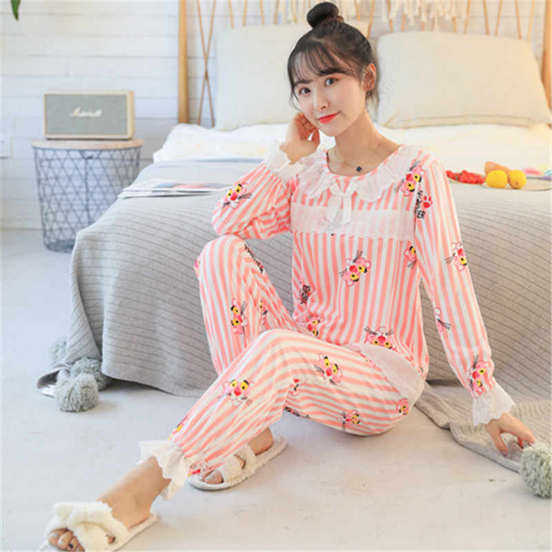 06aafc34a1 Sweet Girl Fashion Printed Lace Pajamas Set Autumn Winter Long Sleeve Cute  Women Pyjamas Set Home
