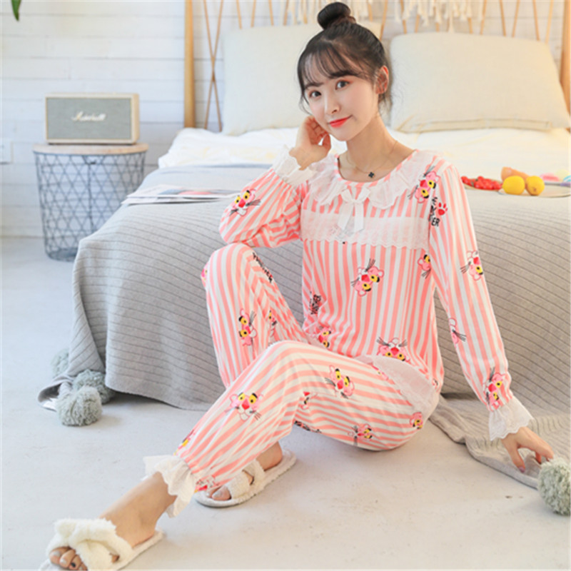 Sweet Girl Fashion Printed Lace   Pajamas     Set   Autumn Winter Long Sleeve Cute Women Pyjamas   Set   Home Wear Clothing