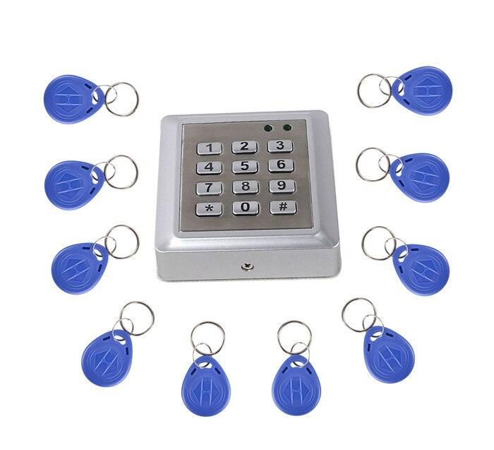 10 Key Card + RFID 125KHZ Metal Keypad Access Controller Reader Single Tamper Alarm 2000 Users metal rfid em card reader ip68 waterproof metal standalone door lock access control system with keypad 2000 card users capacity