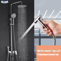 Bathroom Multi function Bath Shower Set With Bidet Faucet Brass Chrome Plated Shower Faucet ABS Rain Shower Head