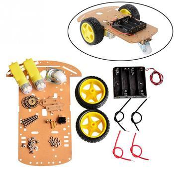 2WD silnika inteligentny samochód robot zestaw podwozia prędkości enkodera opakowanie na baterie