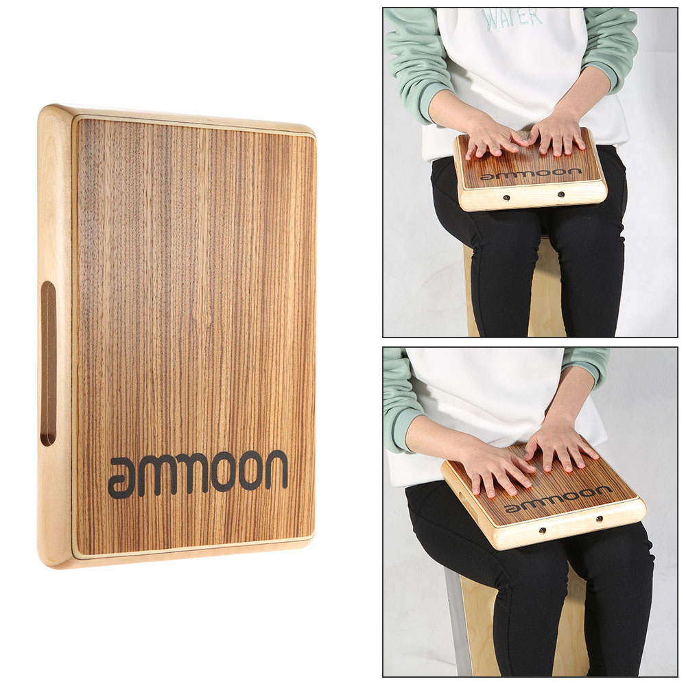 ammoon Compact Travel Cajon Flat Hand Drum Persussion Instrument 31 5 24 5 4 5cm
