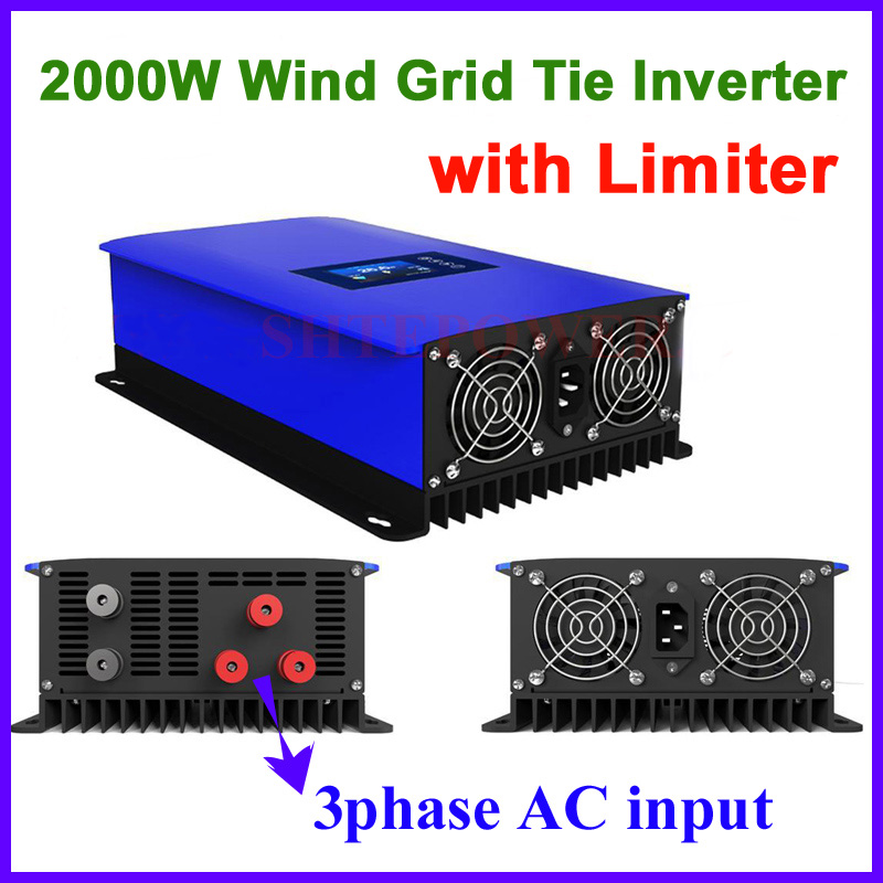 2000W Wind Power Grid Tie Inverter with Limiter /Dump Load Controller/Resistor for 3 Phase 48v wind turbine generator to AC 220v maylar 3 phase input45 90v 1000w wind grid tie pure sine wave inverter for 3 phase 48v 1000wind turbine no need extra controller