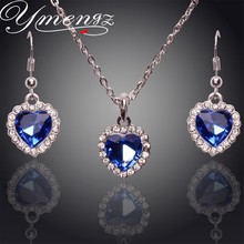 YMENGZ Rhinestone Titanic Rose's Austrian Blue Crystal Earrings Necklace Jewelry sets Rhinestone Heart Of Sea Classic Wedding