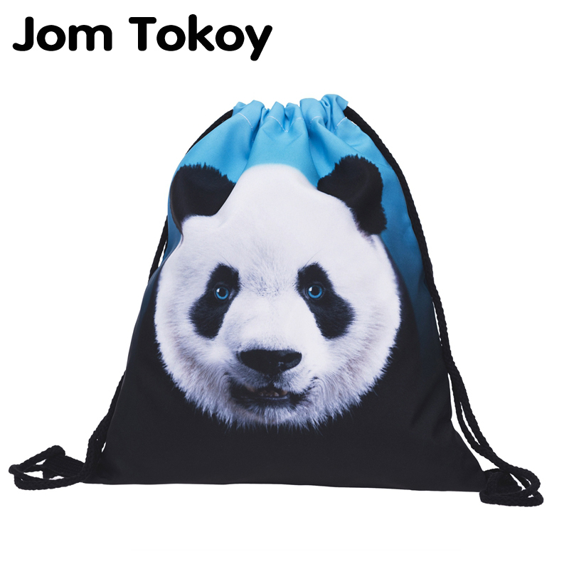 New Fashion Women Panda Backpack 3D Printing Travel Softback Women Mochila Drawstring Bag