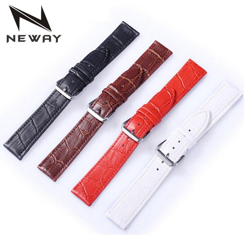 Correa de reloj de cuero neway correa de muñeca 12 14 16 18 20 22 24mm 316L hebilla de acero cinturón de reemplazo negro marrón rojo blanco