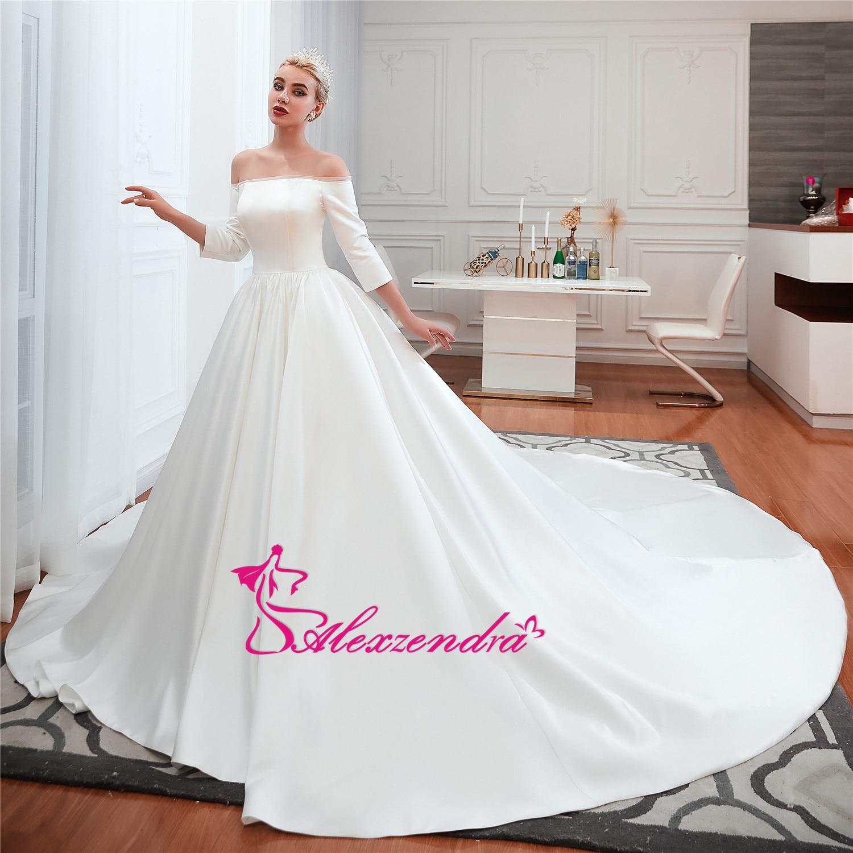 Alexzendra robe de bal en Tulle brillant robes de mariée élégantes pour la mariée perlée ceinture Vintage princesse mariée robes de grande taille - 2