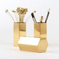 Hexagon Pencil Holder Stainless Steel Hexagonal Flower Machine Golden Flower Vase Metal Storage