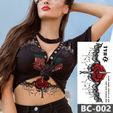 1 Sheet Chest Body Tattoo Temporary Waterproof Jewelry Rose lace Lace Decal flower Waist Art Sticker for Women