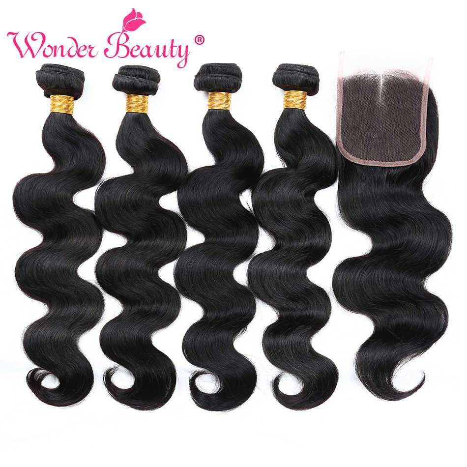 Extensões de cabelo onda do corpo brasileiro 4 pacotes com fecho personalizado 8-26 polegadas 5 pacote negócio tecer cabelo humano frete grátis