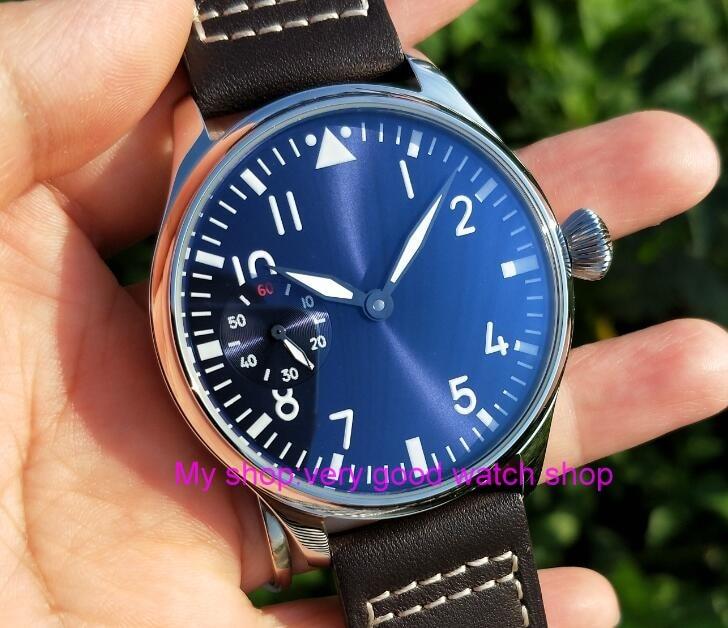 цена на 44mm PARNIS light blue dial Asian 6497 17 jewels Mechanical Hand Wind movement men's watch green luminous Mechanical watches 400