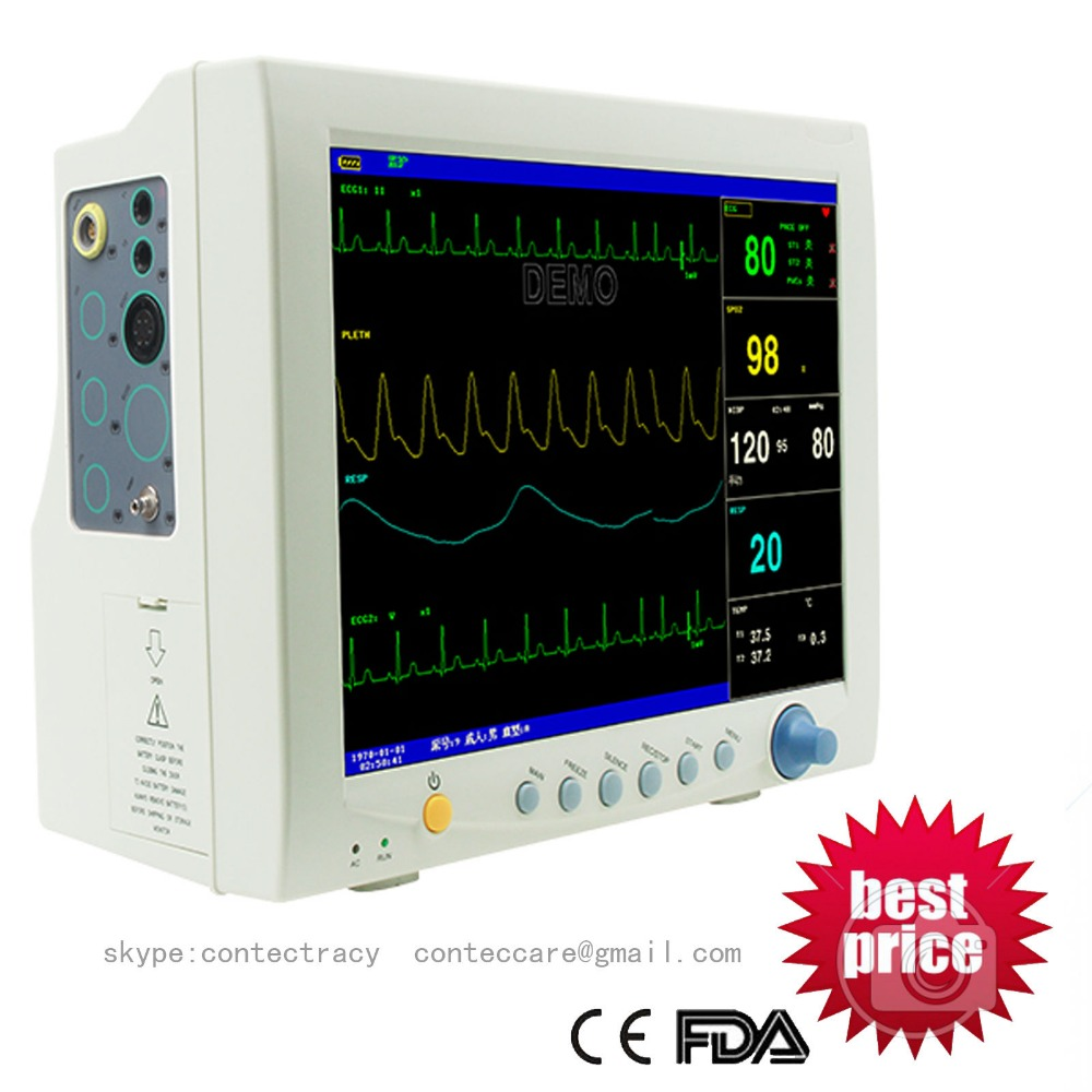 CONTEC Multi-6 parameter Patient Monitor NIBP+ECG+SPO2+RESP+TEMP,3 y warranty gpyoja 2016 hot selling multi parameter ecg nibp spo2 pr temp resp tablet patient monitor